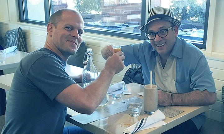 Writer Tim Ferriss with interviewer Cal Fussman