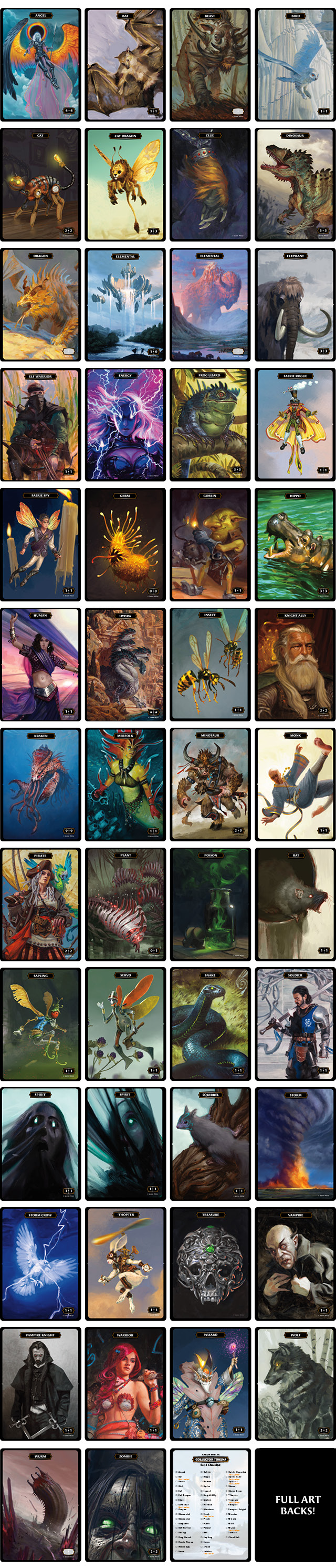 custom mtg magic the gathering artist tokens