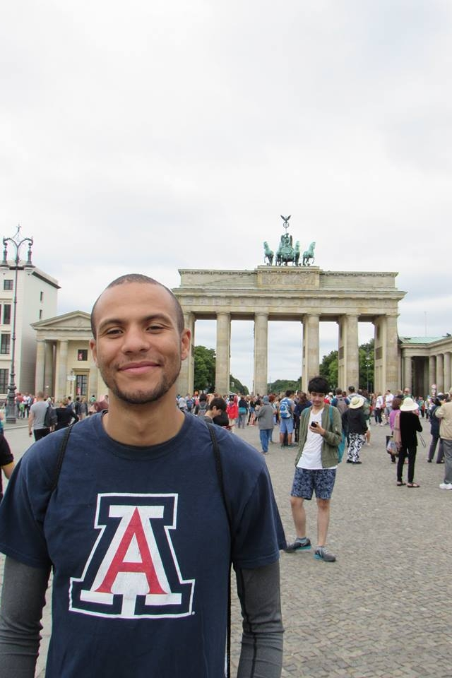 At the Brandenburg Gate in Berlin, Germany.
