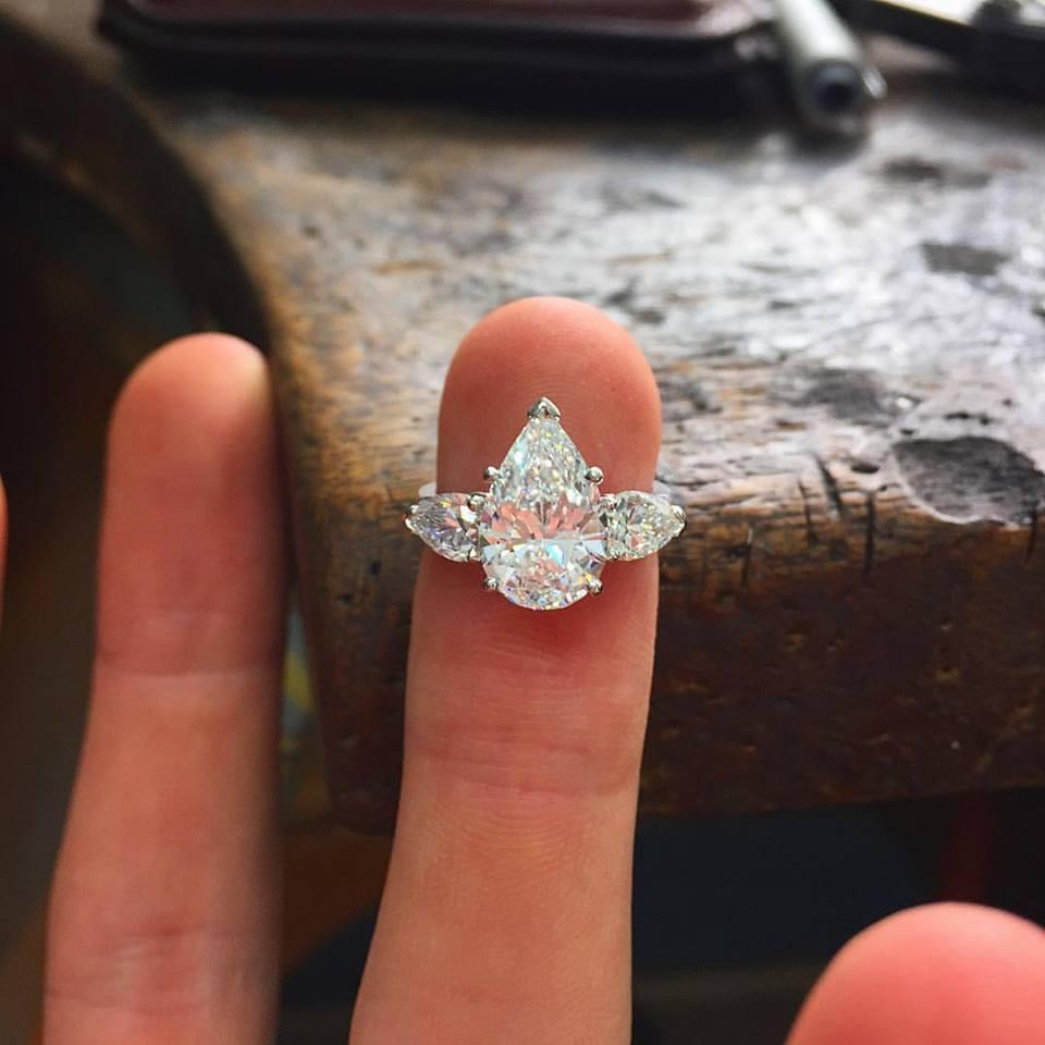 Pear Shape Diamond Three Stone Ring - Benjamin Hawkins