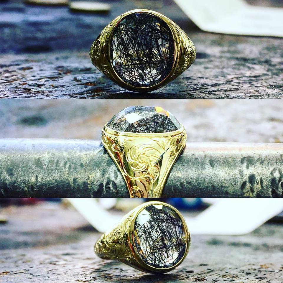 Mens Quartz & Gold Ring - Benjamin Hawkins