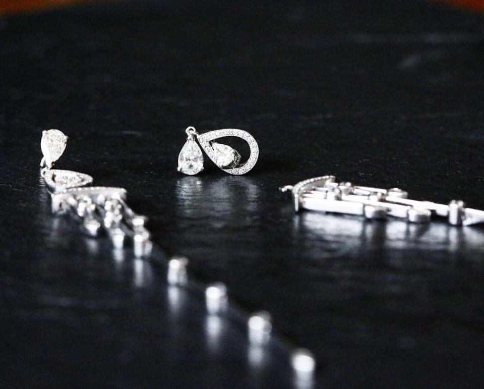 Deco Drops. White Gold & Diamond Earrings With Detachable Chandelier - Benjamin Hawkins