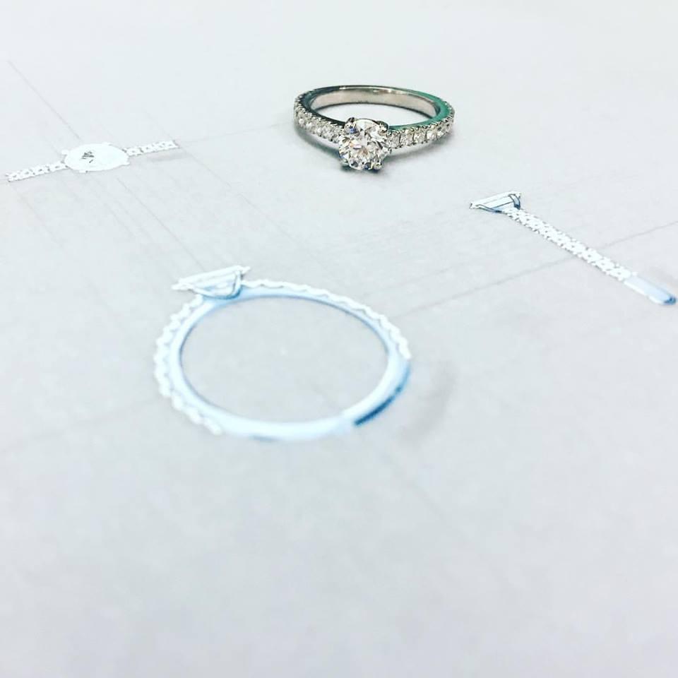 Platinum Solitaire With Diamond Shoulders - Benjamin Hawkins