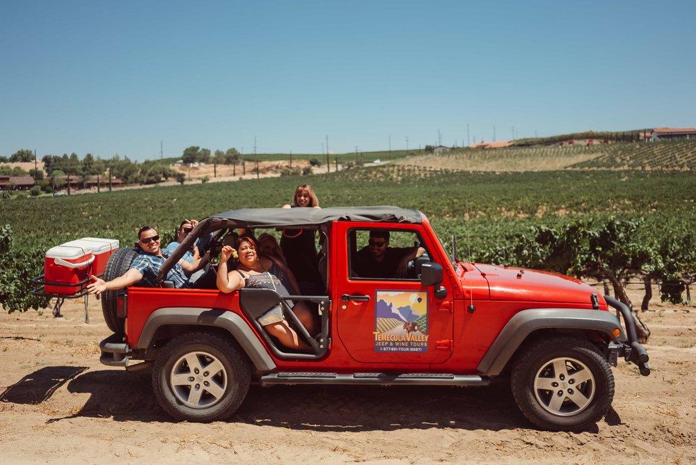 people having fun in a jeep