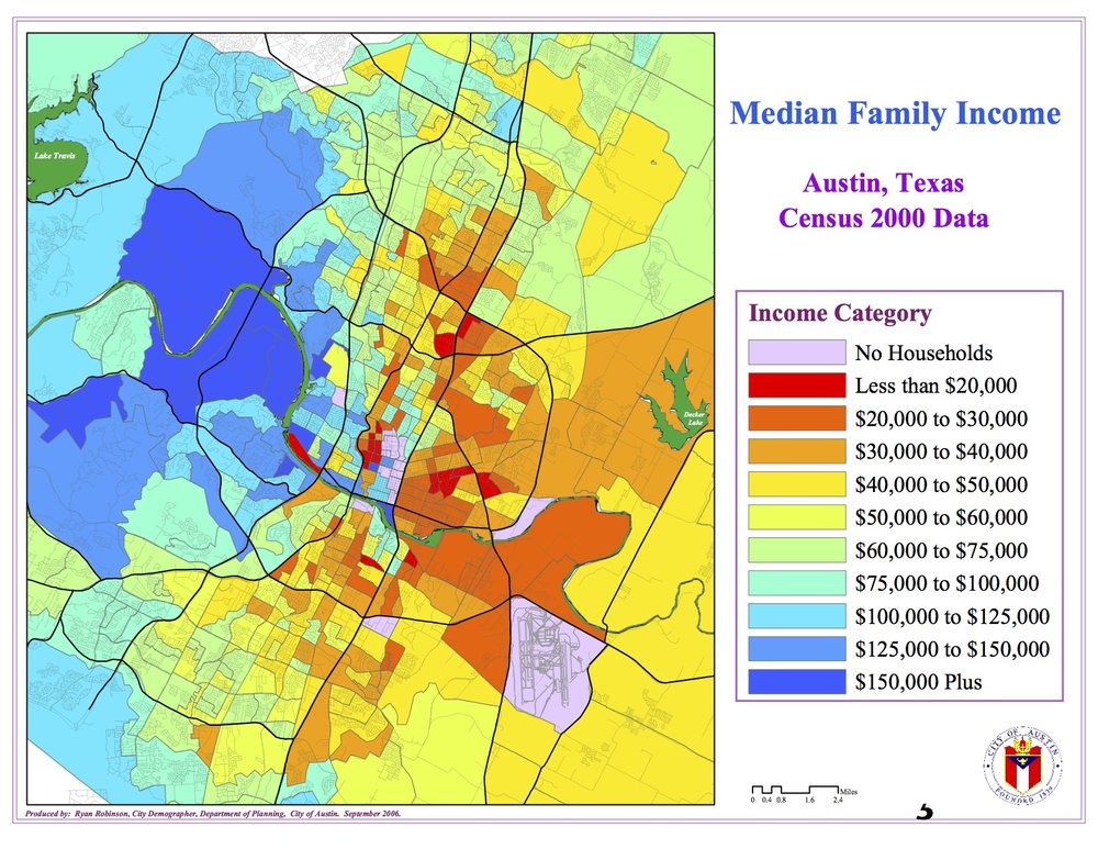 A demographic map of median family income generated by the city of Austin using 2010 census data.