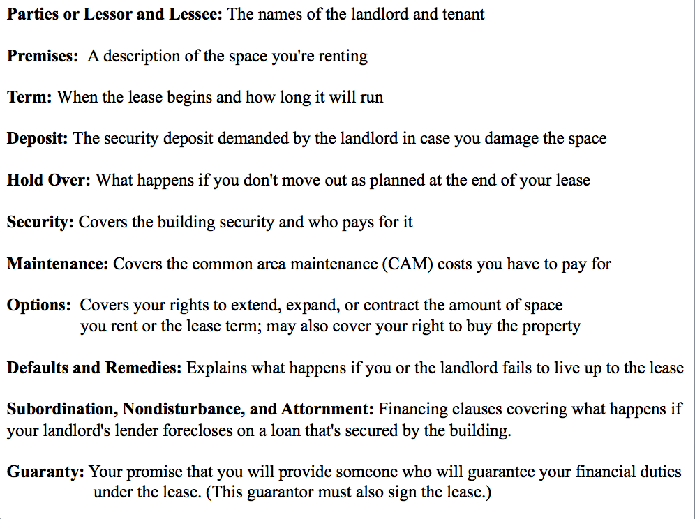 Here's a short list of legal terms frequently used in commercial lease verbiage and their accompanying definitions. Study up on your real estate terms before entering any negotiation as it's likely the lease you'll be dealing with is full of legal jargon designed to concentrate bargaining power in the hands of the lessor.