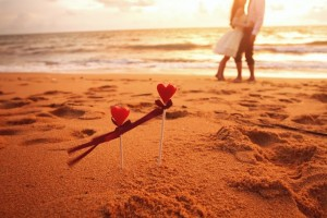 couple on beach in love
