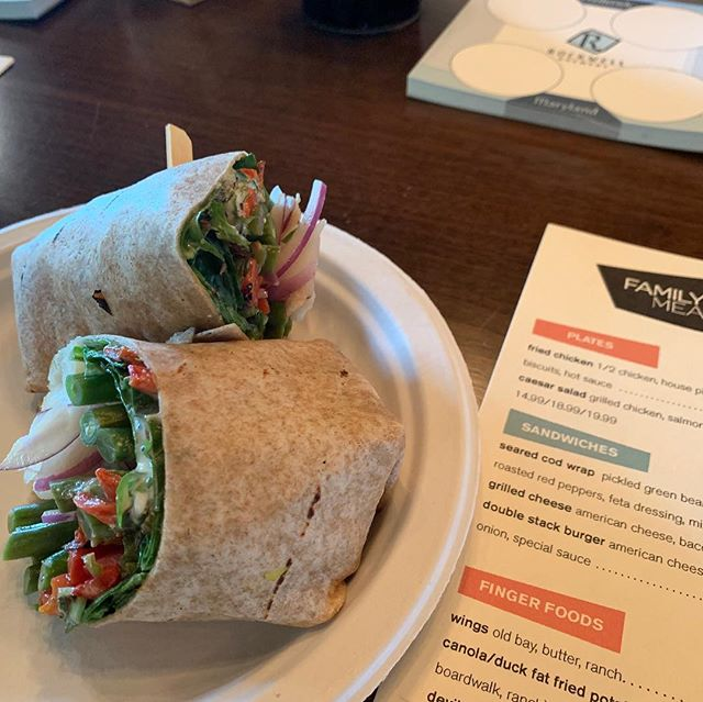 ✨NEW SAMMIE ALERT✨  Seared Cod Wrap: W/ pickled green beans, red onion, roasted red peppers, feta dressing and mixed greens.  Come in and try it today paired with Rapture our Blonde Ale.  Did you know we're open till 11:30 on Saturdays?! Well it's true! We open at 12 and stay open late tonight! Swing on in. . . . . . . #rockwellbrewery #frederickbeer #frederickmd #downtownfrederick #beerwell #familymeal #brianvoltaggio