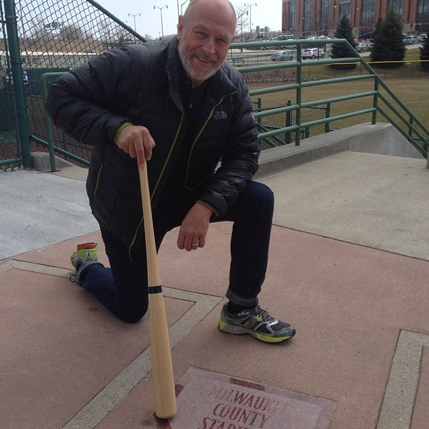 25 years ago. Exact spot of home plate at County Stadium Milwaukee - ground zero for Major League . Magnificent to be here !