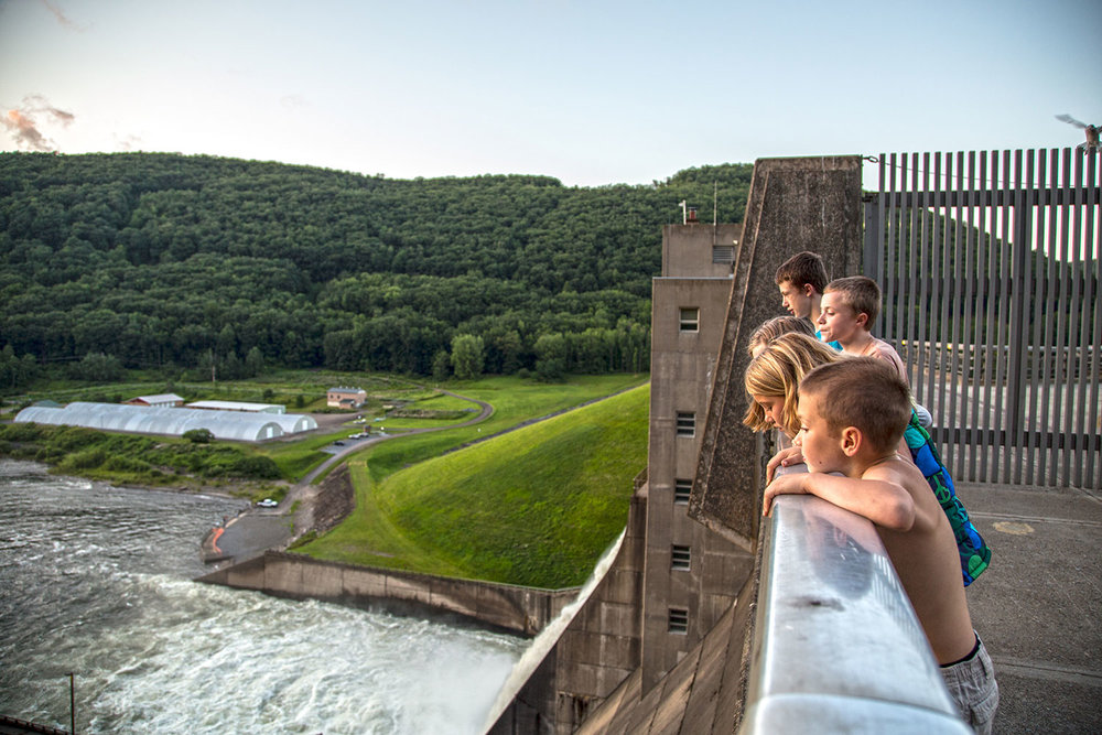 View of Kinzua Dam spillway from atop.