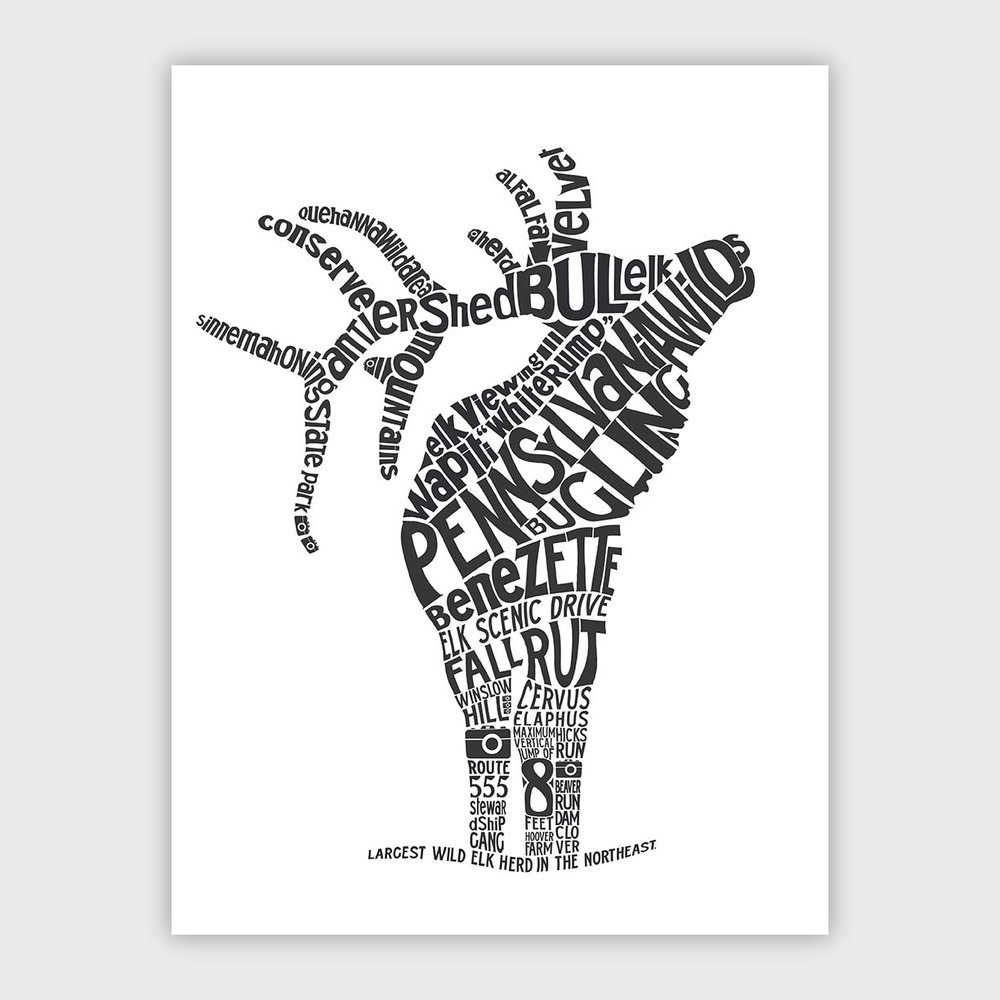 Pennsylvania Wilds Elk Letterpress Print