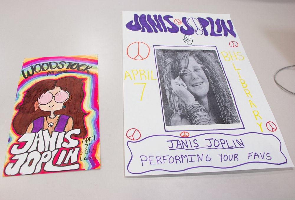 Two students created these signs for their final presentation about music in Vietnam Era America.