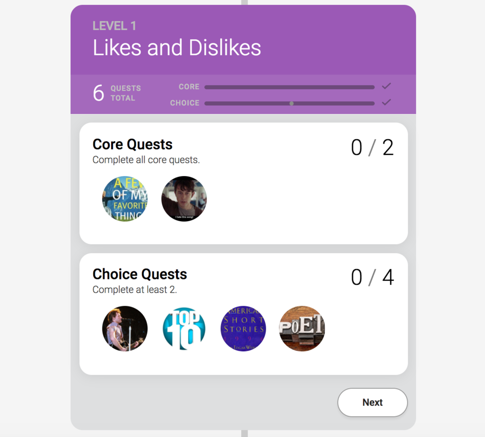 Within a level, learners can see the groups of Core or Choice quests, as well as their progress through the level's requirements.