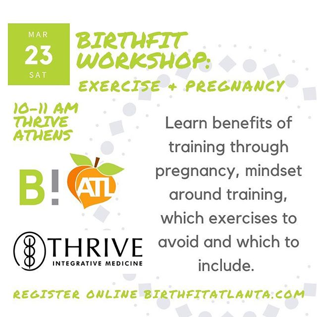 WORKSHOP next Saturday in #athensga 💚 we're talking exercise during pregnancy! What questions do you have?! Register thru link in bio! #birthfitatl #birthfit #fitness #pregnancy
