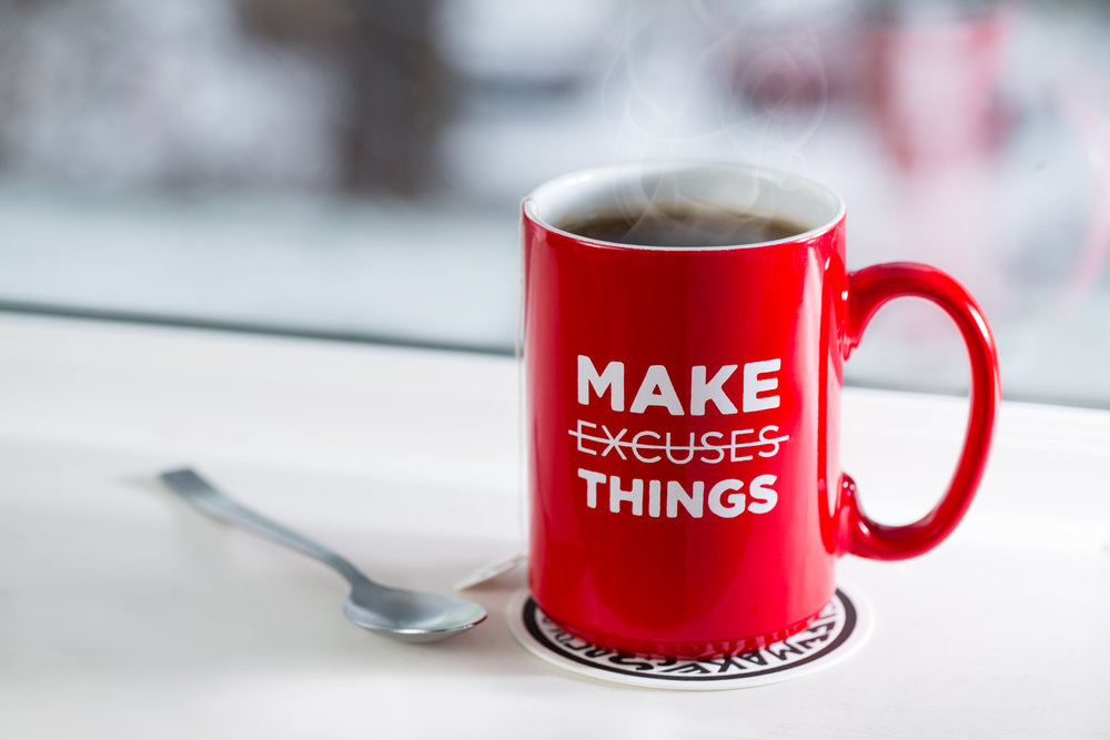Make Things Not Excuses Mug- seanwes