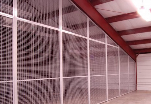wire mesh security cages & partitions - Standard Wire & Steel Works is a leading manufacturer of wire mesh partitions and cages.  Our panels can be used as single wall partitions, or can be configured into cages and enclosures.  The partitions and cages are used for securely enclosing areas and storing items in a fully visible and ventilated environment.