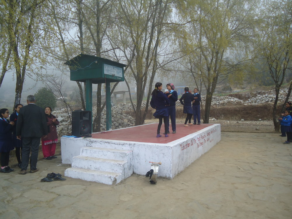Melamchi teachers and school children in the stage area..JPG