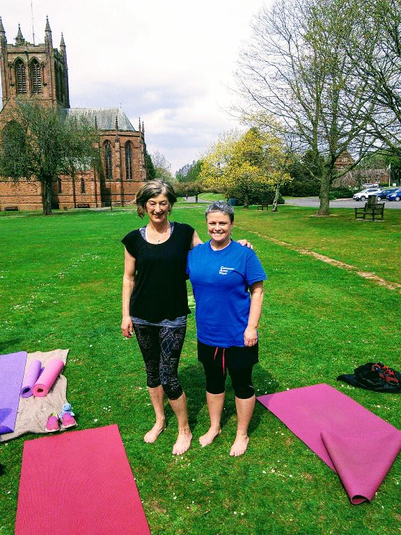 Jill Dobbie and her friend Patti Lean. Patti kept Jill company throughout all 108 sun salutations