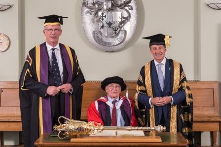 Doug with Vice-Chancellor, Robert Allison and Chancellor Lord Coe