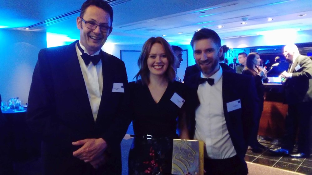 BEI Award Ceremony 2018: From left to right - Paul Labbett, Cara Buchan and Glyn Utting