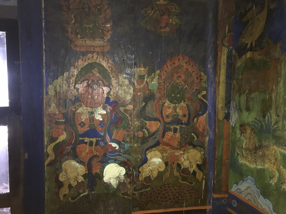 Part of a sequence of painted panels depicting the lives of the main Tibetan Buddhist saints