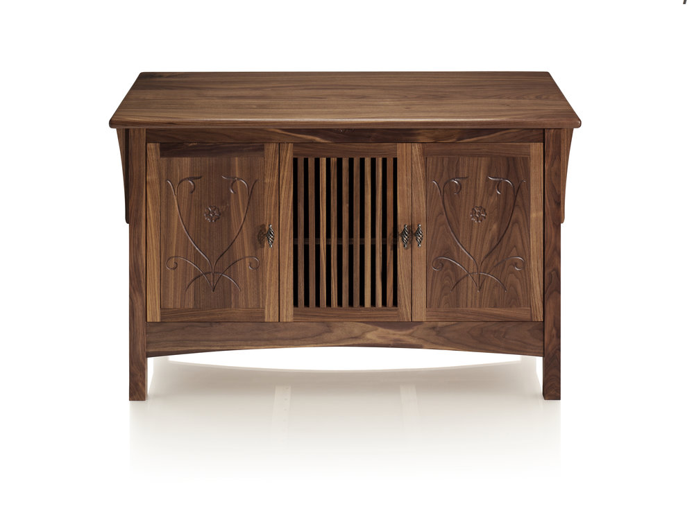 Arts & Crafts inspired Walnut Credenza in black walnut.
