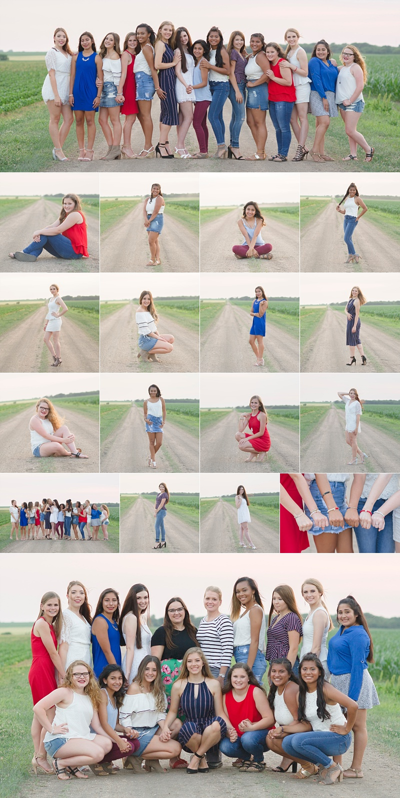 crete-high-school-cheer-cheerleaders-dirt-road-photography-group-session-girls-photographer-crete-nebraska-farm-grass-sunset-red-white-blue-cheer-squad-high-school-seniors-juniors-freshman-sophmores-cheerleading-stunts