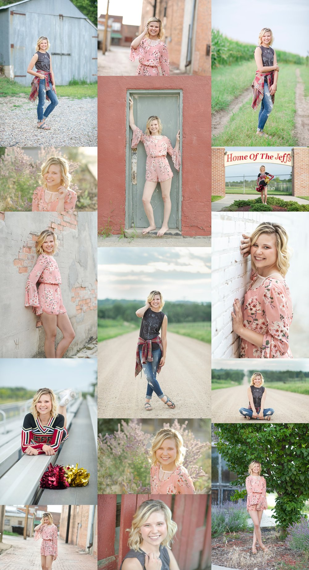 southeast-nebraska-photographer-dirt-road-photography-kelsey-homolka-nerud-farm-photos-senior-girl-portraits-high-school-barn-tractor-grass-cow-dirt-gravel-road-farm-tall-grass-fairbury-nebraska-sunset-boots-senior-portraits-photos-pictures-alley-street-brick-floral-romper-cheerleading-cheerleader-stadium-stands-white-brick