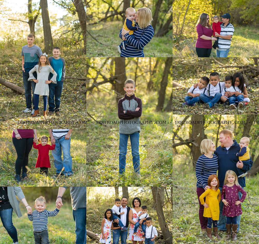 images of family of six people in the fall near wilber nebraska with dirt road photography in southeast nebraska part of saline county taken by kelsey homolka nerud picture shows four boys and mom and dad with blue and maroon colored outfits with tall grass and trees and sunshine in a rural location located by a farm with beautiful fall colored leaves and family having fun laughing