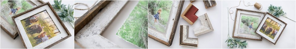 Wooden Farmhouse Frames that include natural barnwood in white wash as well as natural brown wood.