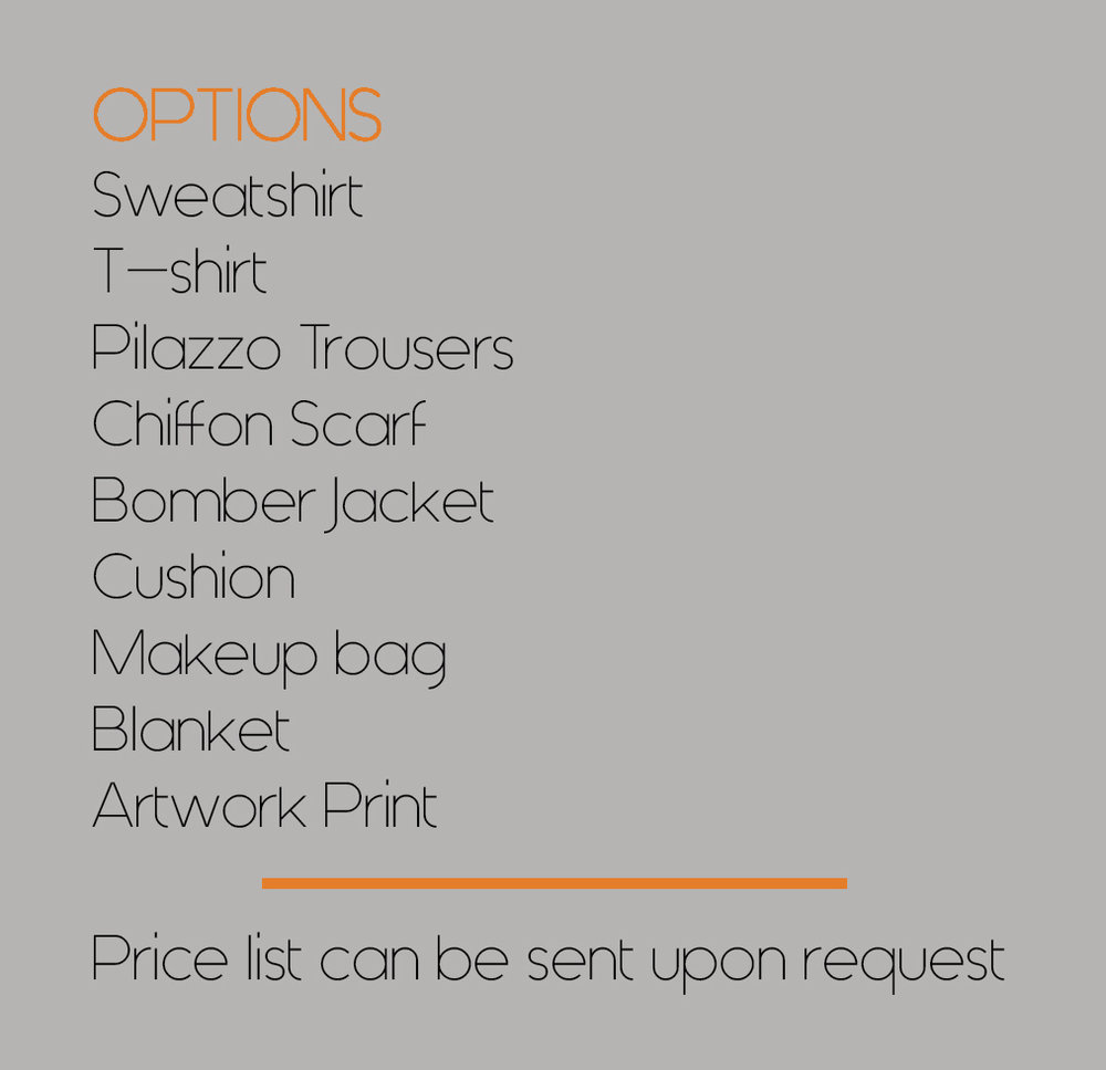 CUSTOM ORDERSThis is where you can place a personal order from any of our current prints to create a one off garment, interior product or larger orders by sending us an email with your request.  - click onto CONTACT to send us your custom order concept and we will turn this into a reality