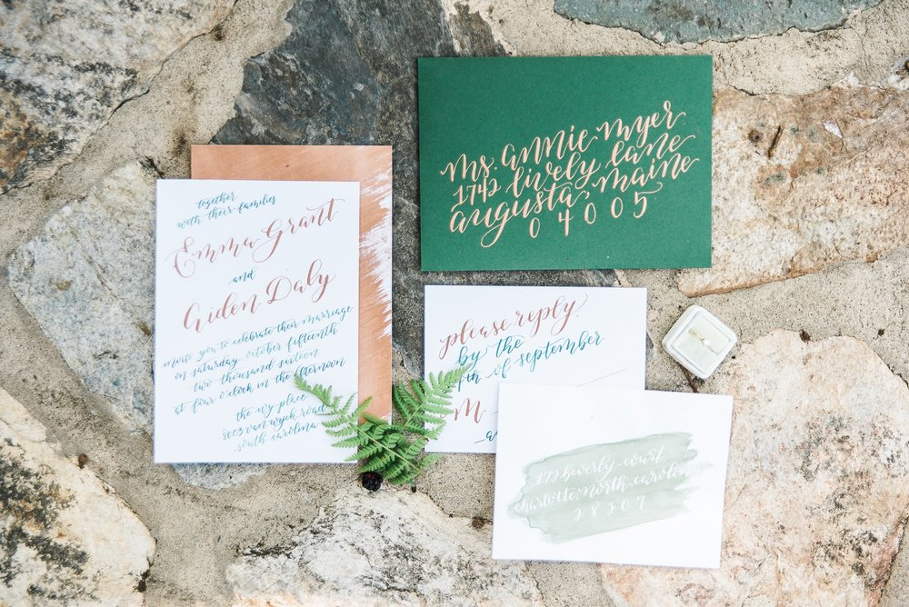 Green & copper invitation suite
