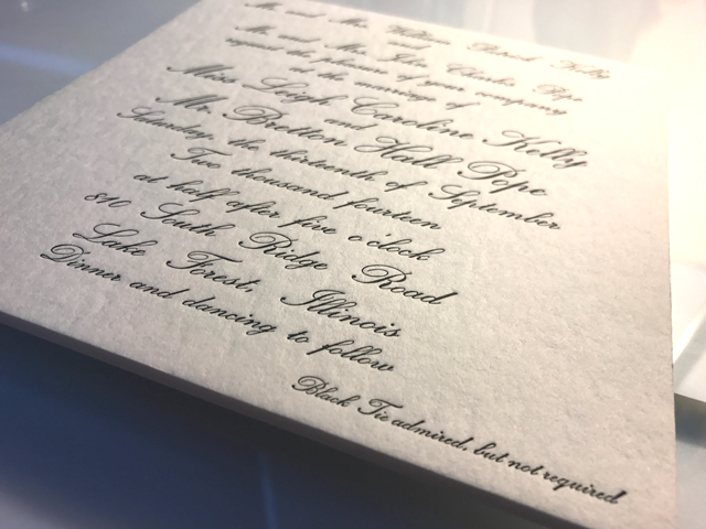 Letterpress Printing - Your design is pressed into the paper.