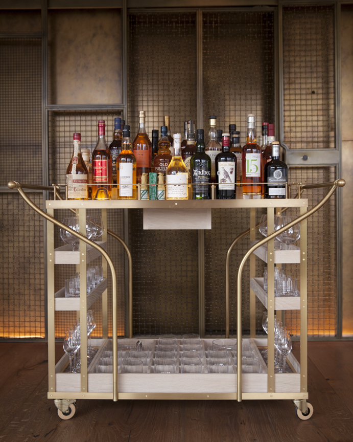Bespoke digestif trolley designed by These White Walls Studio for Hide Restaurant, London.