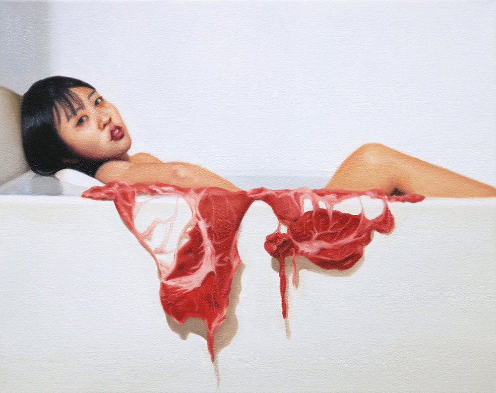 Meat Bath, Junyi Liu, Oil on linen, 20x16, $3000.jpg