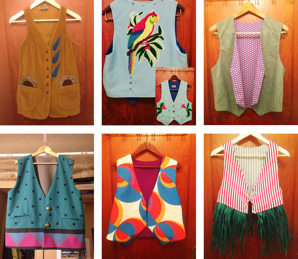 Some examples of the WhatVest Collection - The Parrot (top, center) is a retro-western style vest inspired by the creations of Manuel Cuevas the famous designer who made outfits for the likes of Johnny Cash and Dolly Parton.
