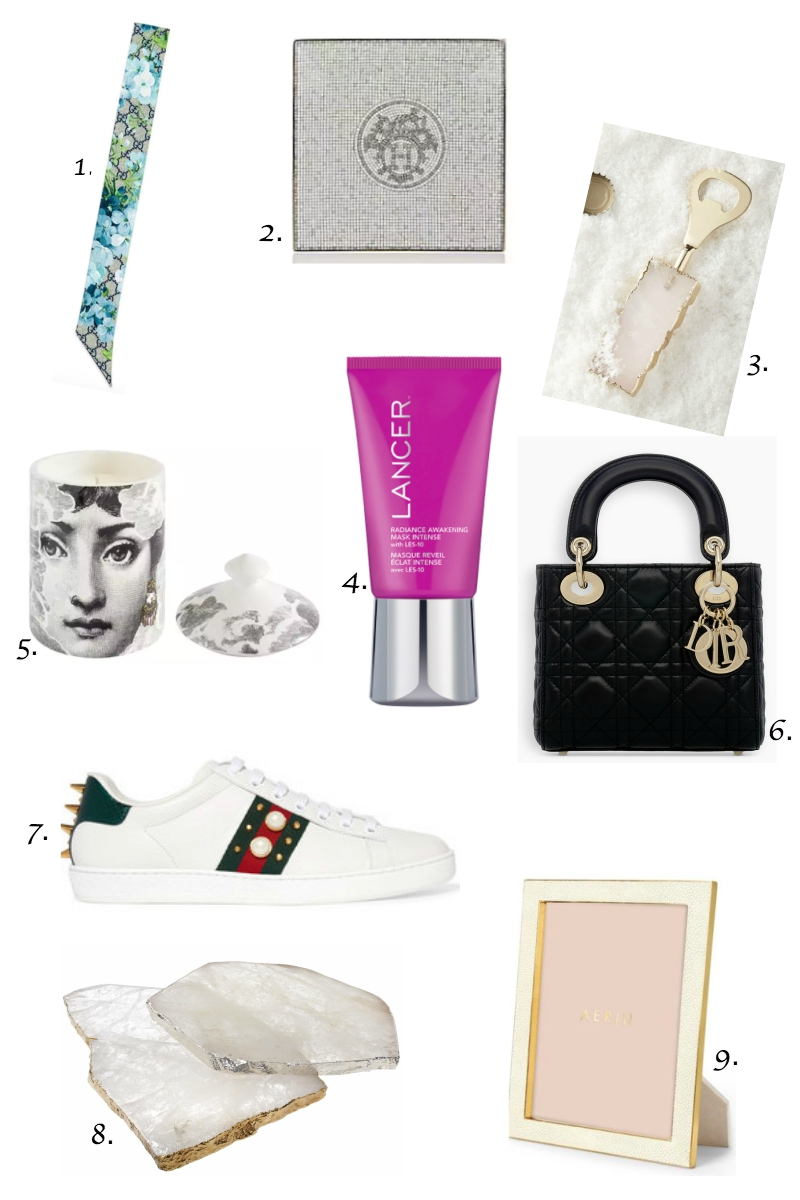 1.  Gucci GG Blooms Skinny Scarf   2.  Hermes square scarf   3.  Agate bottle opener   4.  Lancer Radiance Awakening Mask Intense   5.  Fornasetti Nuvola Scented Candle   6.  Mini Lady Dior bag   7.  Gucci Ace Studded Sneaker   8.  Agate cheese board   9.  Aerin picture frame