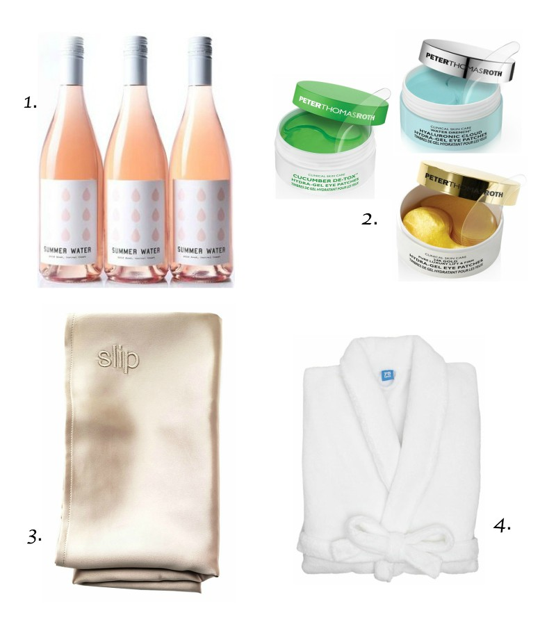 1.  Rose of the month membership   2.  Peter Thomas Roth eye patches  - there's three different kinds!  3.  Slip Silk Pillowcase   4.  Customized bathrobe