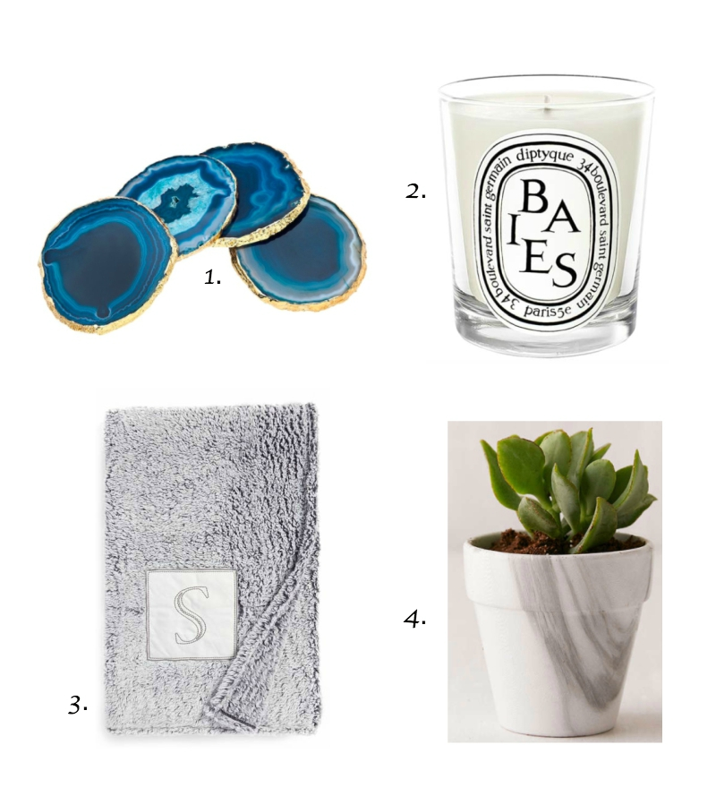 1.  Agate coasters   2.  Diptyque Baies candle   3.  Monogram throw blanket   4.  Marble planter