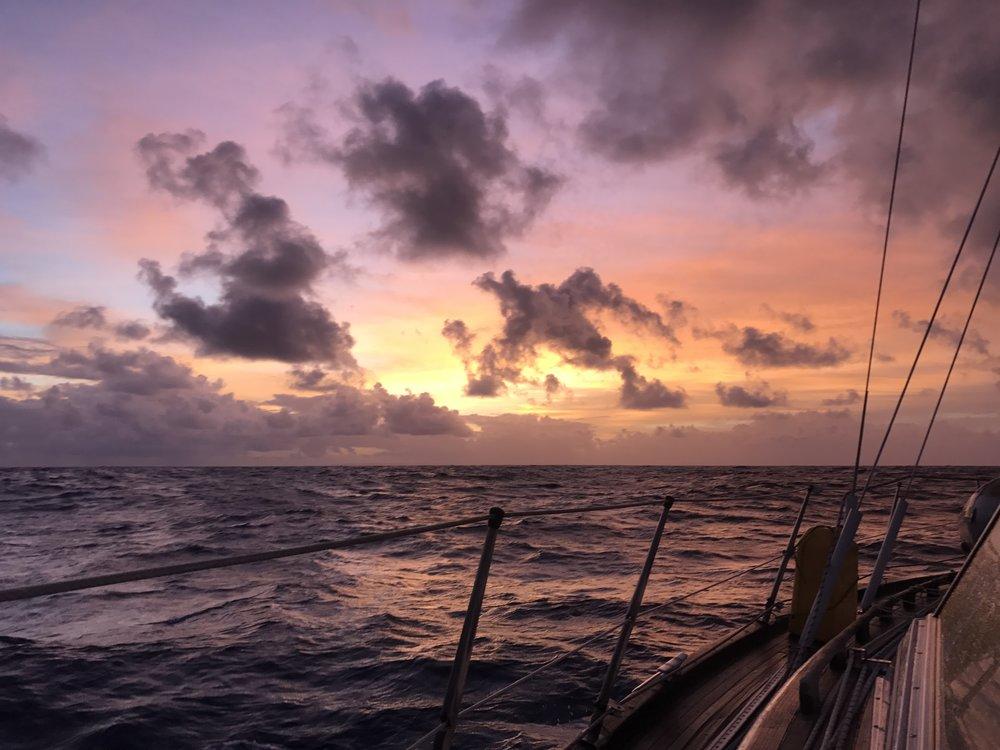 Sunrise coming into Barbados.