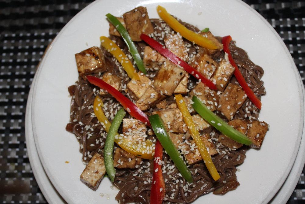 Asian soba noodle salad $13 USD.