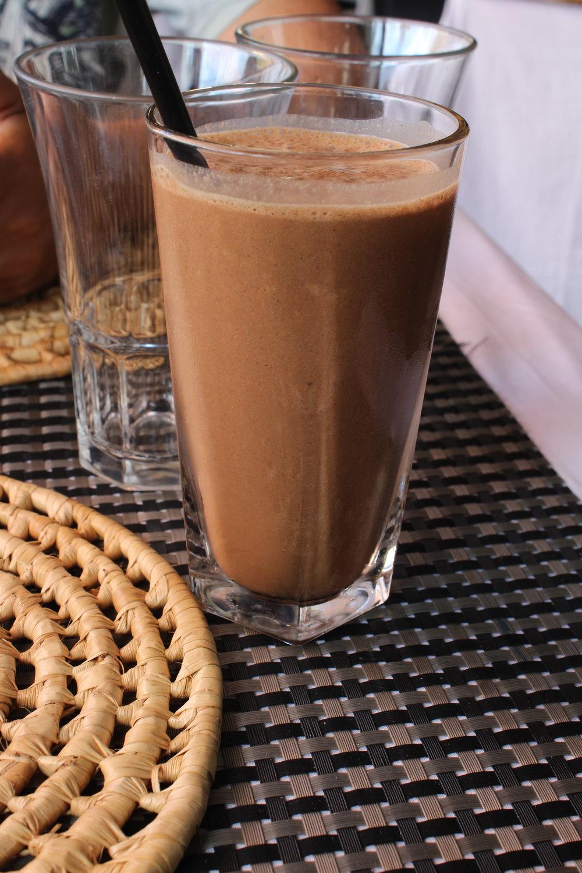Chocolate hemp smoothie $6 USD.