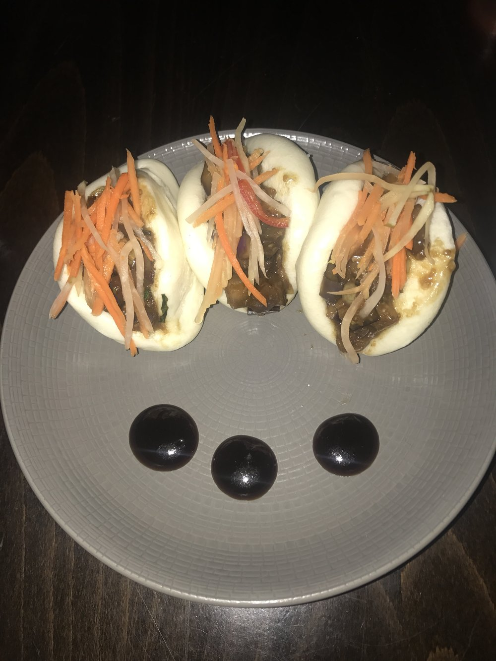 Eggplant bao buns! These were supper tasty, you can hardly even tell there is eggplant at all, I would get these again.