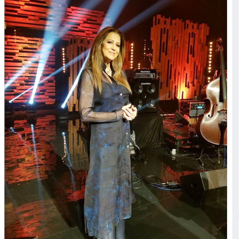 "Rita promoting "" Safe In The Arms Of Time"" Wearing  Gabrielle Carlson  for TV in Ireland."