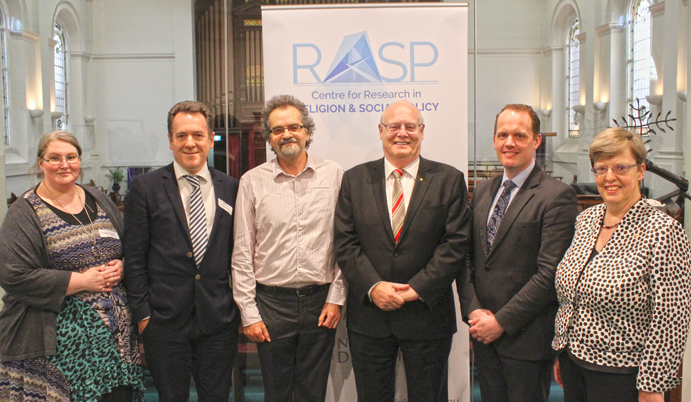 From left: Naomi Wolfe (ACU), Gordon Preece (RASP Director), Mark Brett (Whitley College), Graeme Blackman (Chancellor), Peter Sherlock (Vice-Chancellor) and Gabrielle McMullen (Committee Chair) at the launch of the new Centre for Research in Religion and Social Policy.
