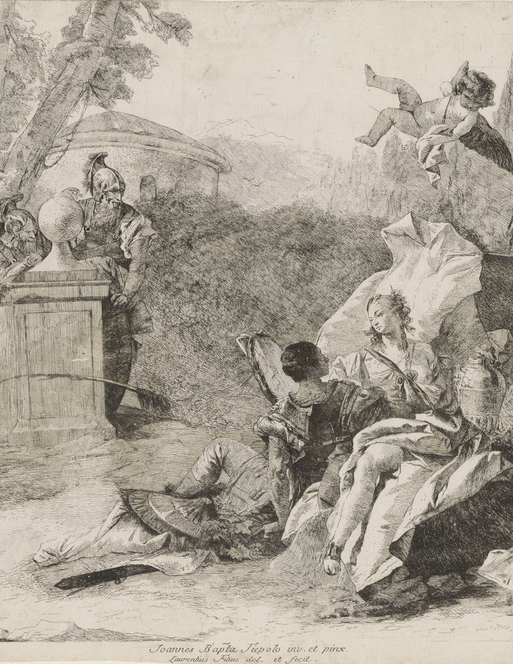 Lorenzo Tiepolo after Giovanni Battista Tiepolo,  Rinaldo and Armida  (etching ca 1758).  Courtesy of the  Yale University Art Gallery .  Appears:  Writing