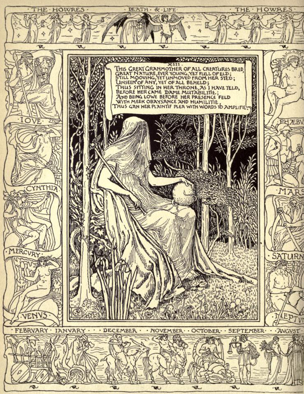 Edmund Spenser,  The Two Cantos of   Mutability,  illustrated by Walter Crane (London, 1896).      Appears:  Writing