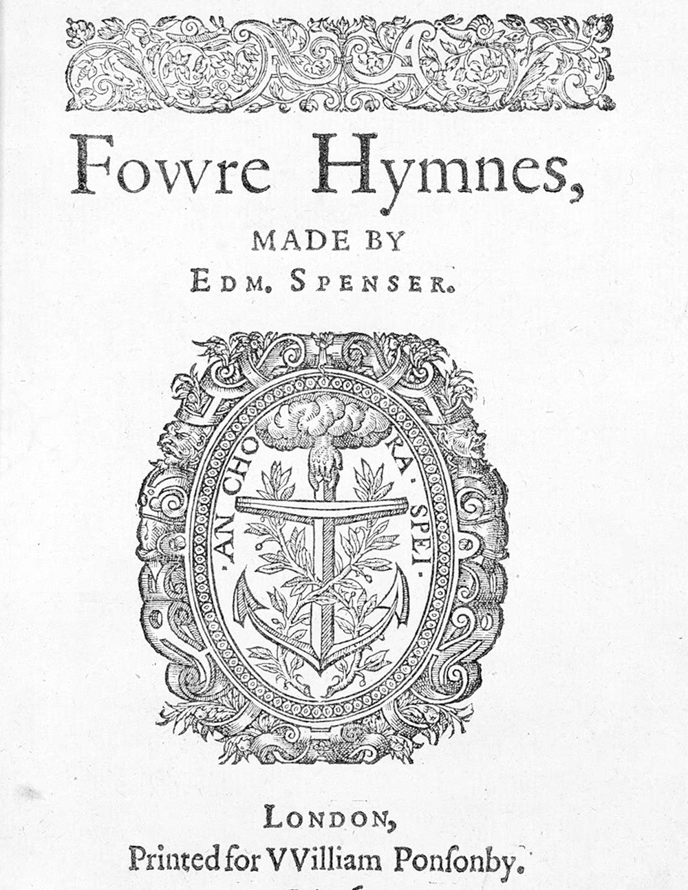Fowre Hymnes Title Page (London, 1596).  Courtesy of  Wikicommons   Appears on:  Writing