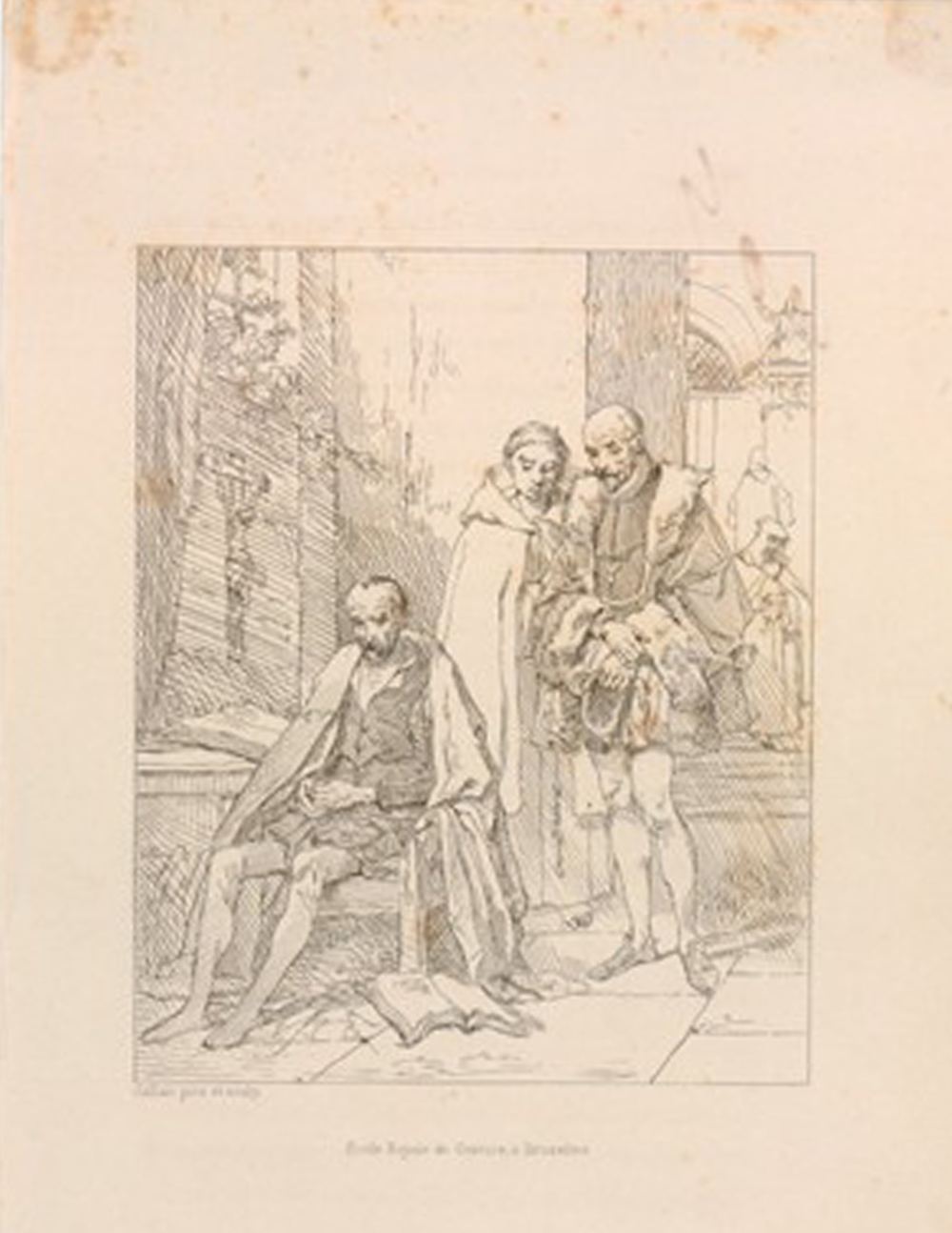 Louis Gallait, École Royale de Gravure à Bruxelles,  Le Tasse en prison, ou Montaigne visitant le Tasse  (1836). Print.  Courtesy of The British Museum  Appears:  Writing
