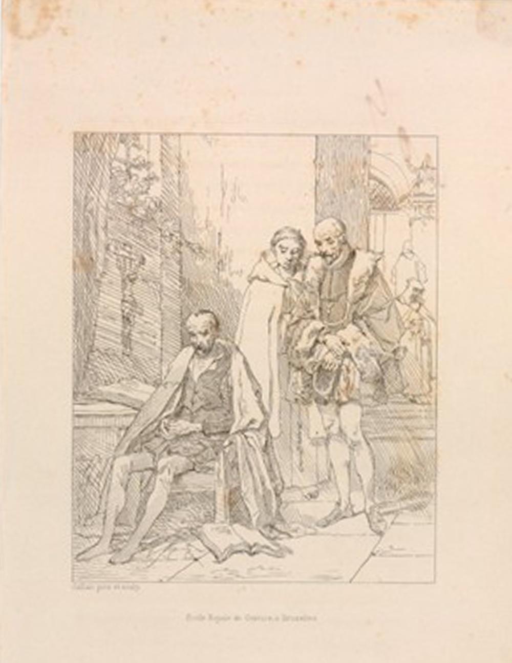 Louis Gallait, École Royale de Gravure à Bruxelles,  Le Tasse en prison, ou Montaigne visitant le Tasse  (1836). Print.  Courtesy of The British Museum  Appears:  Writing
